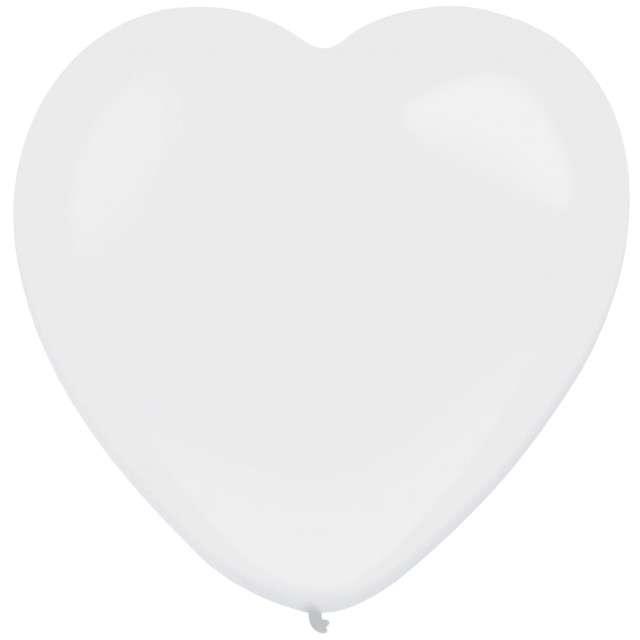 """Balony """"Serce"""", biały, AMSCAN, 12"""", 50 szt"""