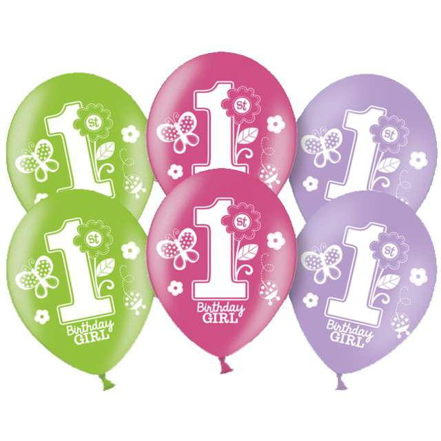Balony 1st Bithday Girl pastel mix AMSCAN 11 6 szt