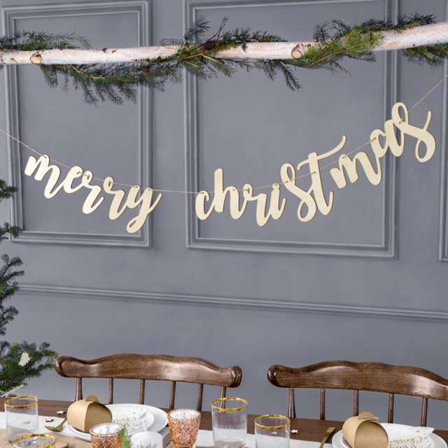 Baner Merry Christmas drewniany PartyDeco 87 cm