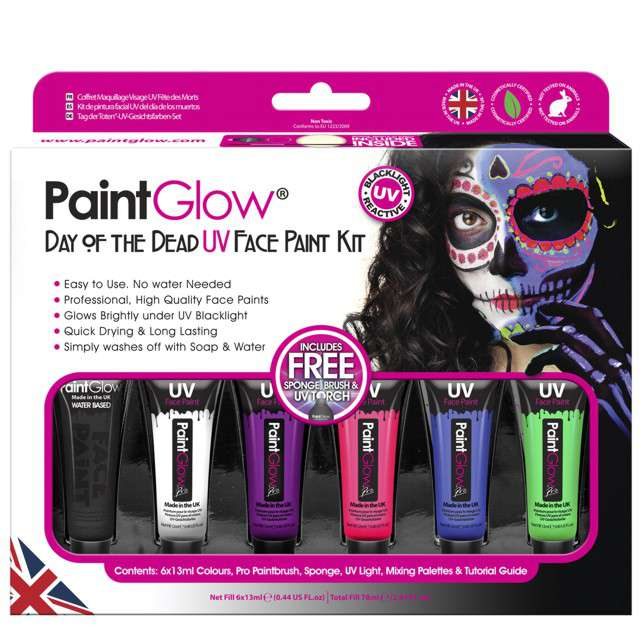 "Make-up party ""Farba NEON UV - Day of the Dead"", mix, PaintGlow, zestaw"