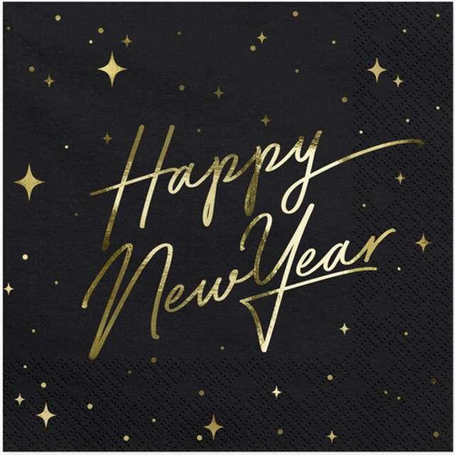 """Serwetki """"Happy New Year"""", czarne, PartyDeco, 33 cm, 20 szt"""