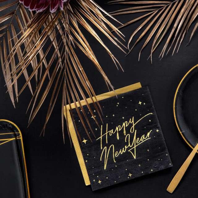 Serwetki Happy New Year czarne PartyDeco 33 cm 20 szt