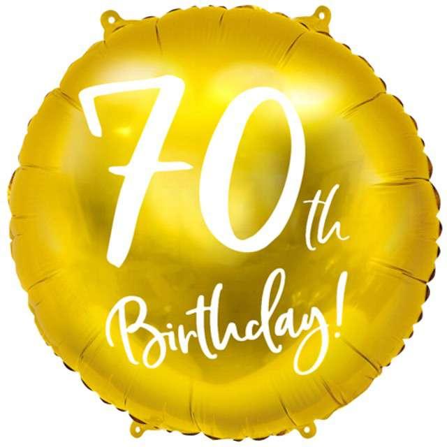 """Balon foliowy """"70 Urodziny 70th Birthday"""", PartyDeco, złoty, 18"""" CIR"""