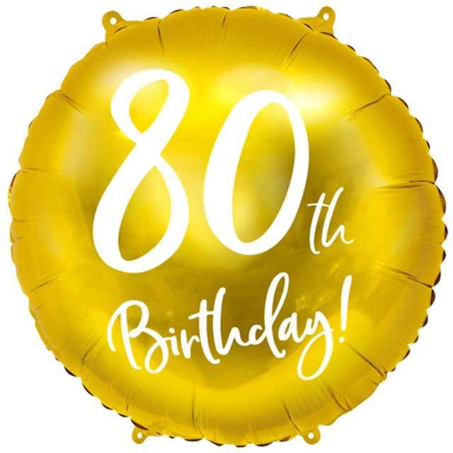 """Balon foliowy """"80 Urodziny 80th Birthday"""", PartyDeco, złoty, 18"""" CIR"""