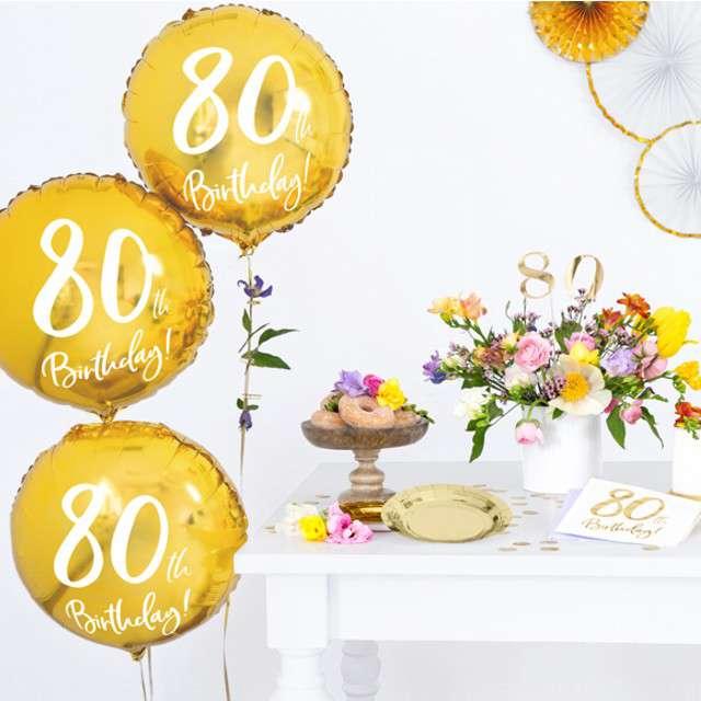 Balon foliowy 80 Urodziny 80th Birthday PartyDeco złoty 18 CIR