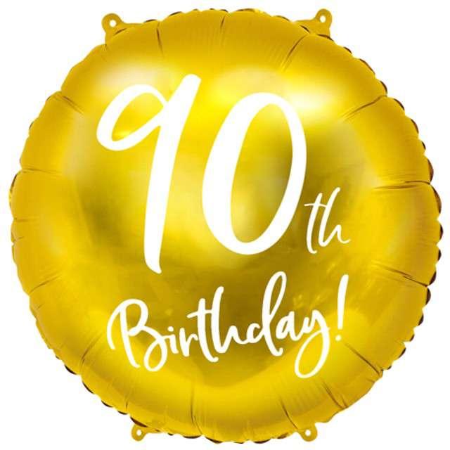 """Balon foliowy """"90 Urodziny 90th Birthday"""", PartyDeco, złoty, 18"""" CIR"""
