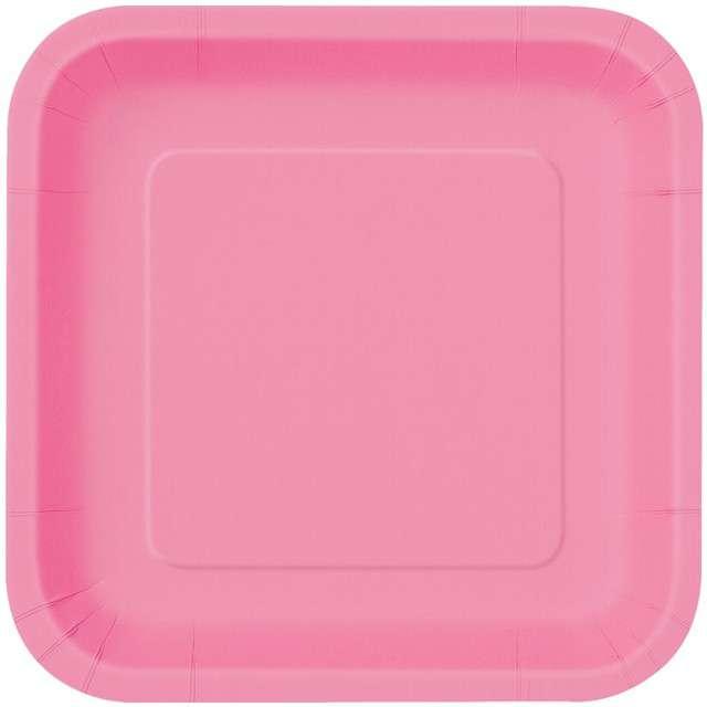 Talerzyki papierowe Classic - Kwadratowe różowe 23 cm 14 szt