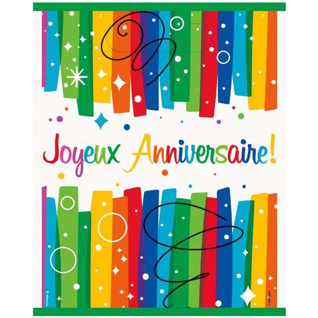 """Torebki na prezenty """"Joyeux Anniversaire"""", UNIQUE, 8 szt"""