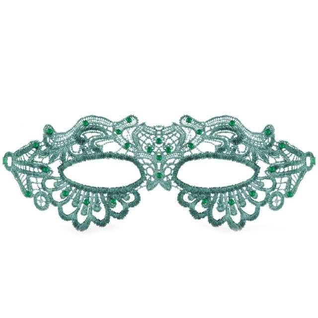 """Maska karnawałowa """"Dama"""", zielona ażurowa, GODAN"""