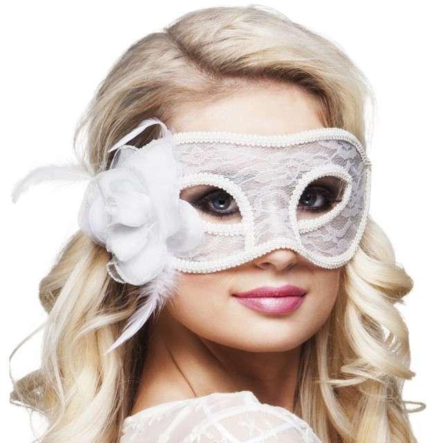 Maska Karnawałowa Mystique biała ażurowa