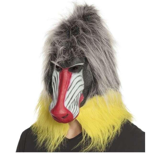 """Maska """"Małpa Pawian z włosami"""", lateksowa, BOLAND"""