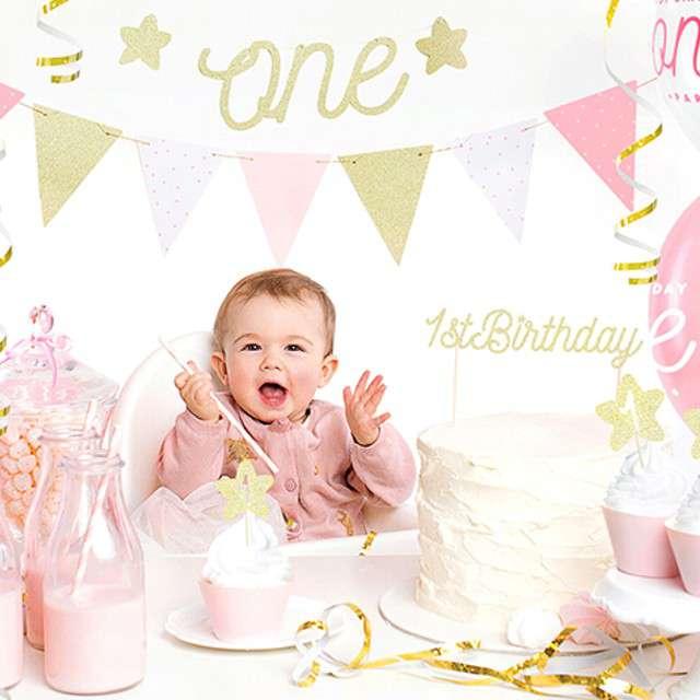 Dekoracja na tort 1st Birthday złoty PartyDeco 21 cm