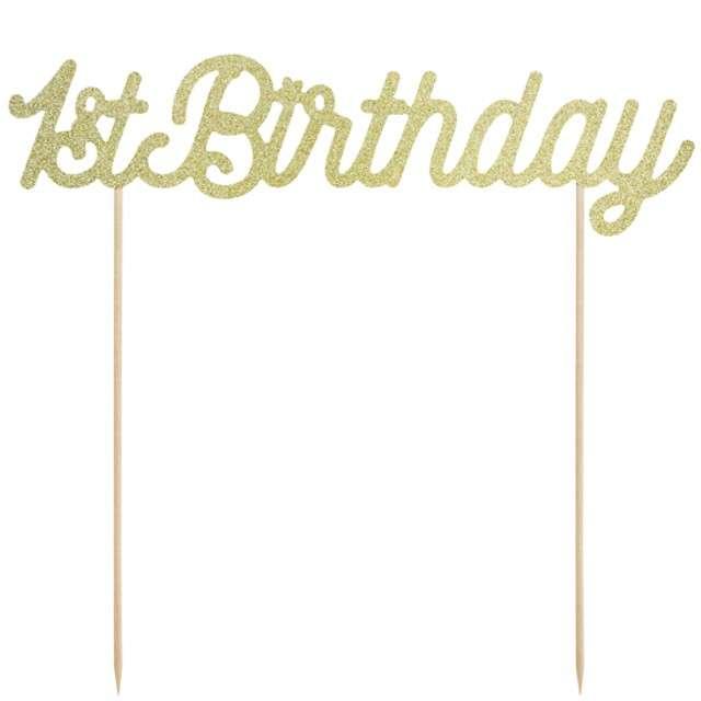 """Dekoracja na tort """"1st Birthday"""", złoty, PartyDeco, 21 cm"""