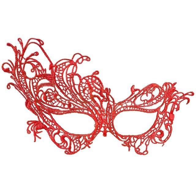 """Maska karnawałowa """"Masquerade"""", czerwona ażurowa, BOLAND"""
