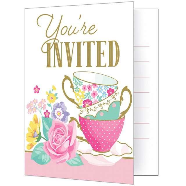 "Zaproszenia urodzinowe ""Floral Tea Party"", CreativeConverting, 8 szt"