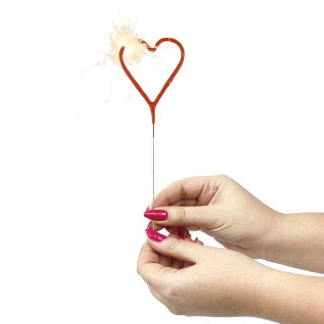 Zimne ognie Serce czerwone WonderCandle 18 cm
