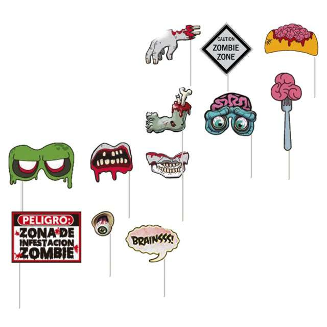 Fotogadżet patyczki Halloween Zombie GUIRCA 12 szt