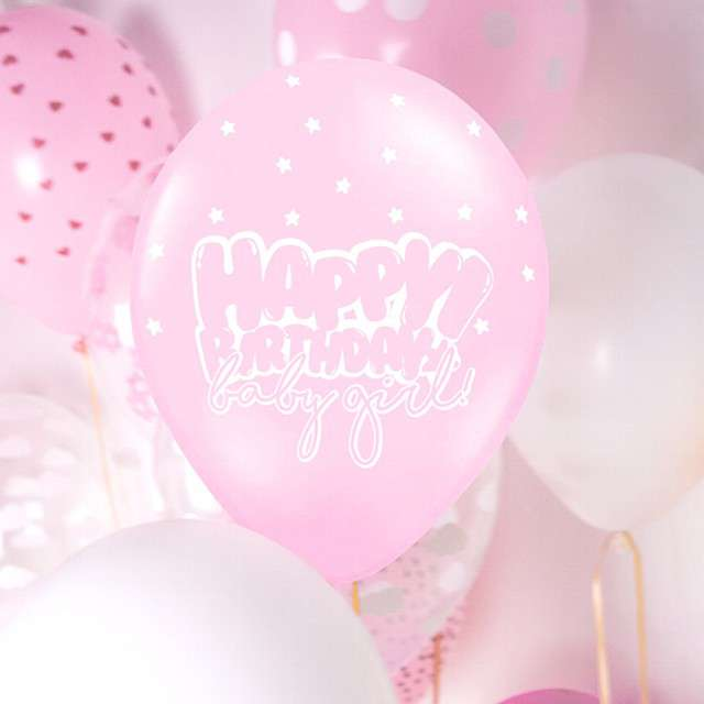 Balony Happy Birthday - Baby girl pastel różowy 12 STRONG  50 szt