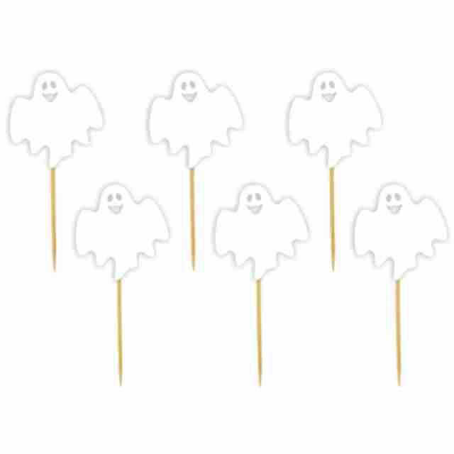"""Pikery """"Halloween Wesoły Duszek"""", białe, 6 szt"""