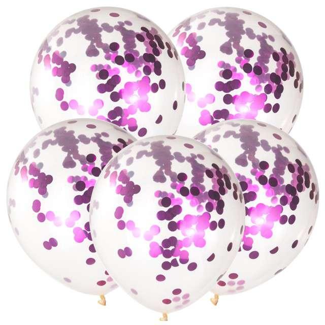 Balony z konfetti Classic różowe CZAKOS 10 5szt.
