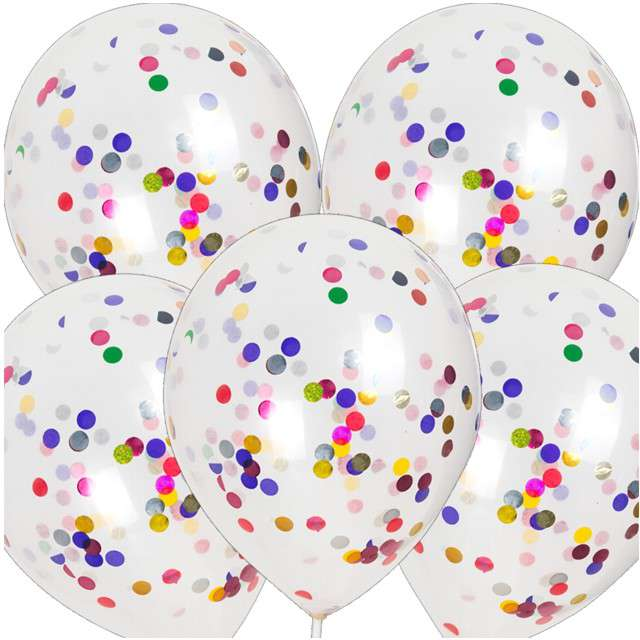 Balony z konfetti Classic mix CZAKOS 10 5szt.