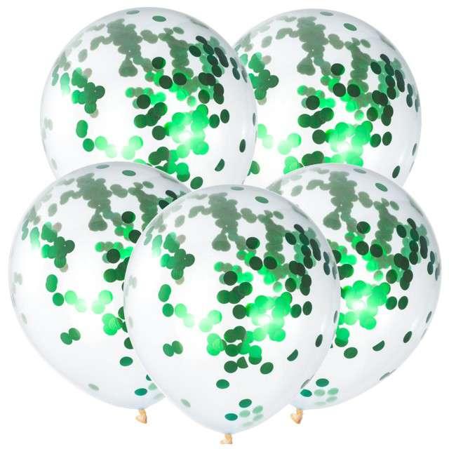 Balony z konfetti Classic zielone CZAKOS 10 5szt.