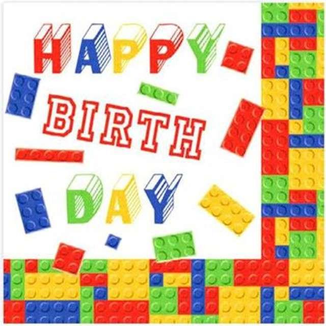 "Serwetki ""Klocki - Happy Birthday"", Maki-Daisy, 33 cm, 20 szt"