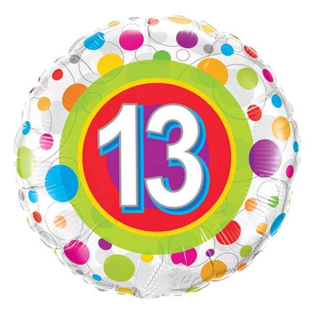 Balon foliowy 13 Urodziny - Grochy QUALATEX 18 CIR