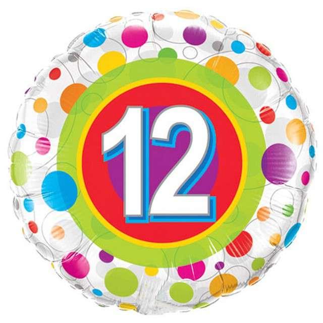 Balon foliowy 12 Urodziny - Grochy QUALATEX 18 CIR