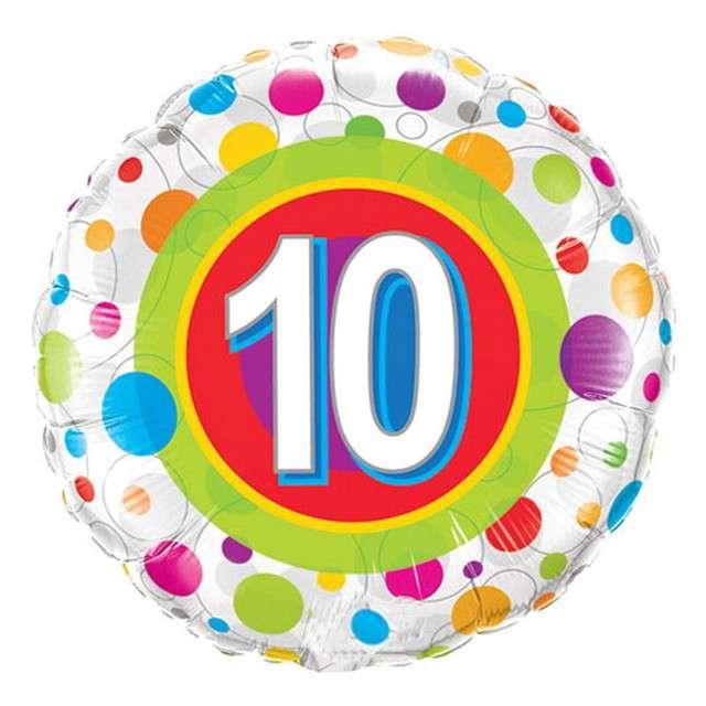 """Balon foliowy """"10 Urodziny - Grochy"""", QUALATEX, 18"""" CIR"""