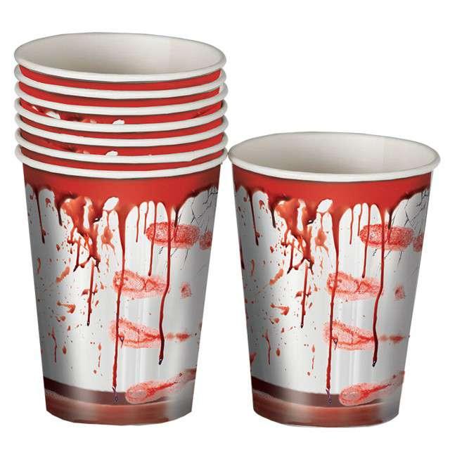 Kubeczki papierowe Krwawe Ślady GUIRCA 8 szt