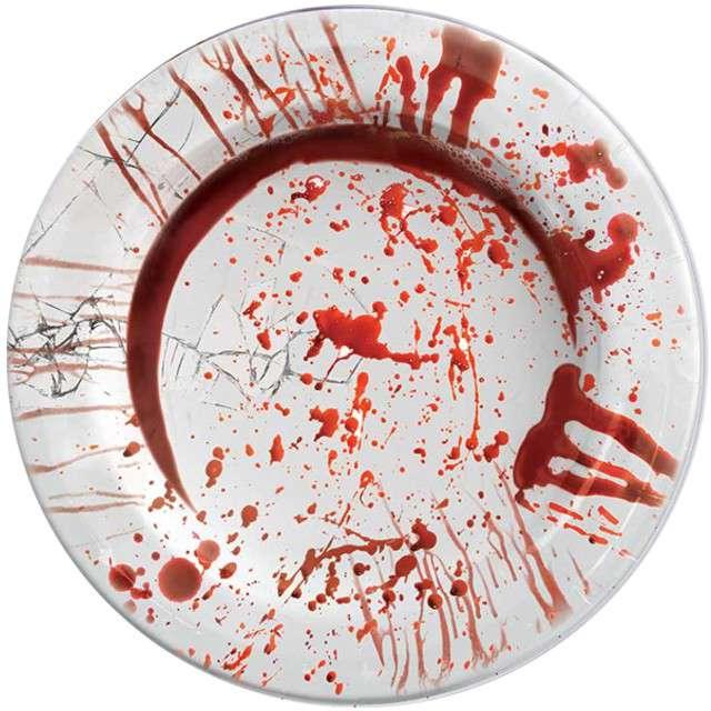 """Talerzyki papierowe """"Krwawe Ślady"""", GUIRCA, 23 cm, 8 szt"""