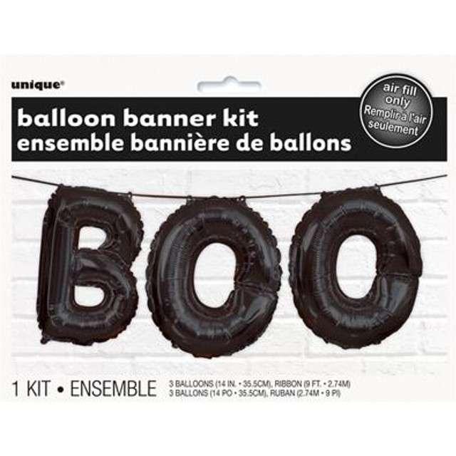 Balon foliowy BOO - Halloween czarny UNIQUE zestaw
