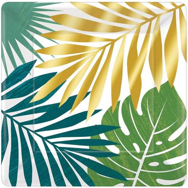"""Talerzyki papierowe """"Liście Palmy - Key West"""", AMSCAN, 25 cm, 8 szt"""