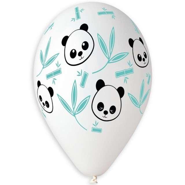 "Balony ""Panda i Bambus"", białe, 13"", GEMAR, 5 szt"