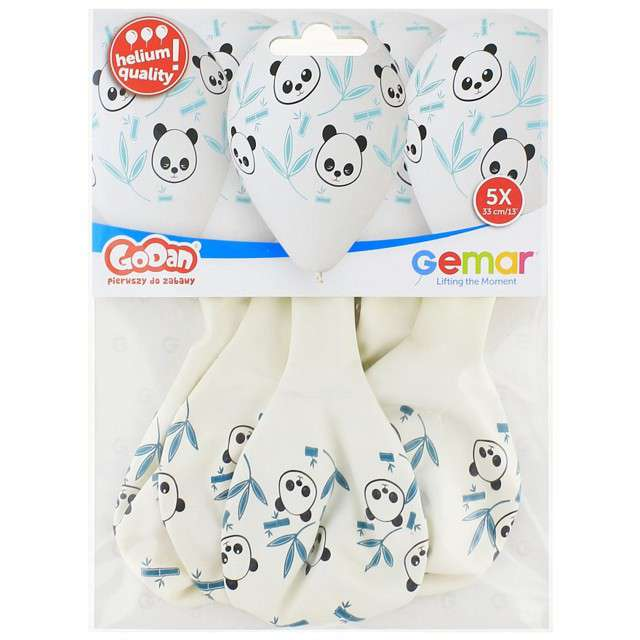 Balony Panda i Bambus białe 13 GEMAR 5 szt