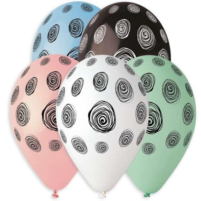 """Balony """"Spiralne Groszki"""", mix, 13"""", GEMAR, 5 szt"""