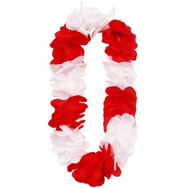 """Naszyjnik Hawajski """"Aloha Kibic"""", biało czerwony,"""