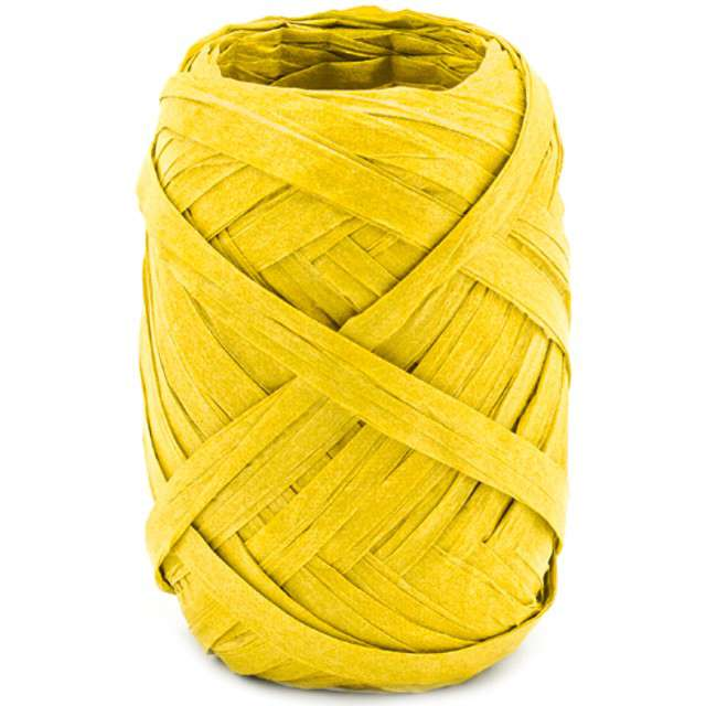 """Wstążka do balonów """"Rafia"""", żółta, PartyDeco, 5 mm/10 m"""