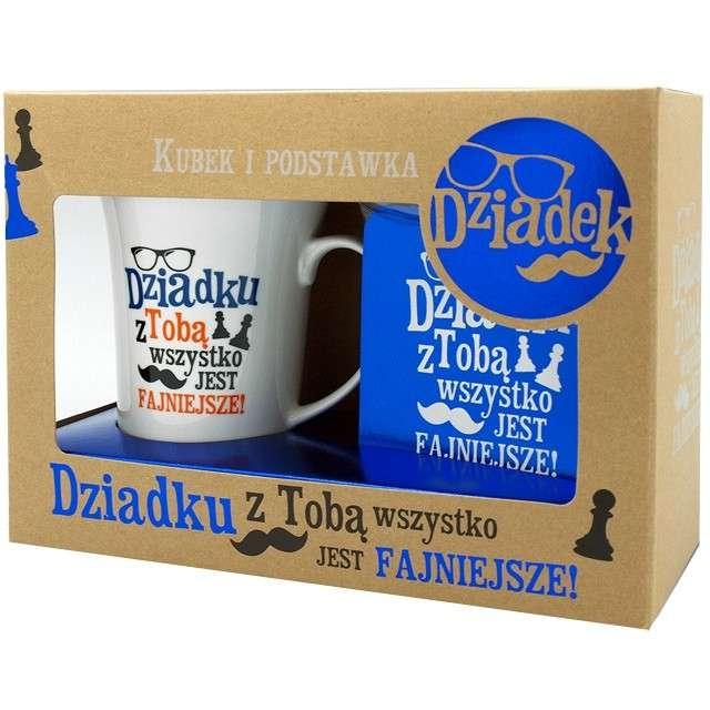 Kubek Dzień Dziadka z podstawką niebieski Pan Dragon 350 ml