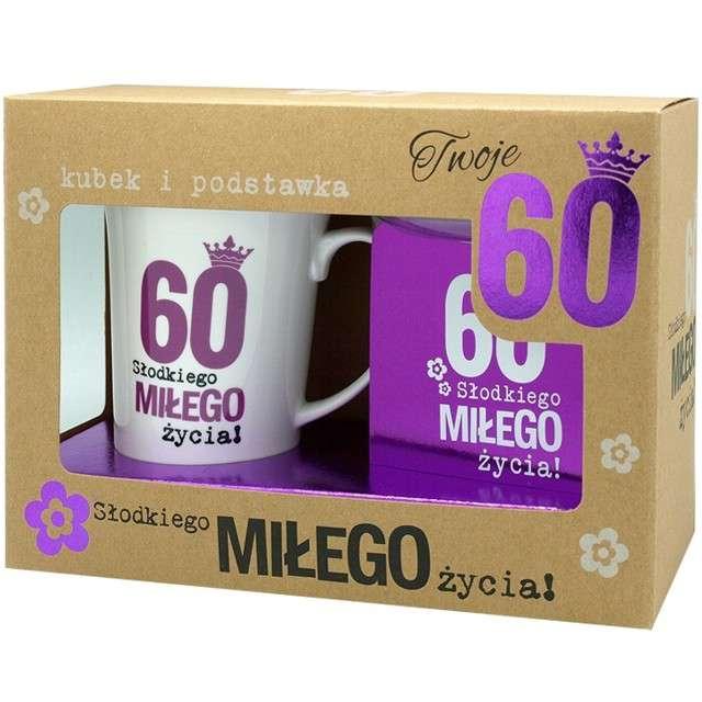 """Kubek """"60 Urodziny z podstawką"""", fioletowy, Pan Dragon, 350 ml"""