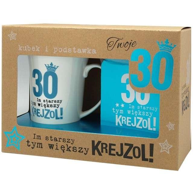 """Kubek """"30 Urodziny z podstawką"""", niebieski, Pan Dragon, 350 ml"""