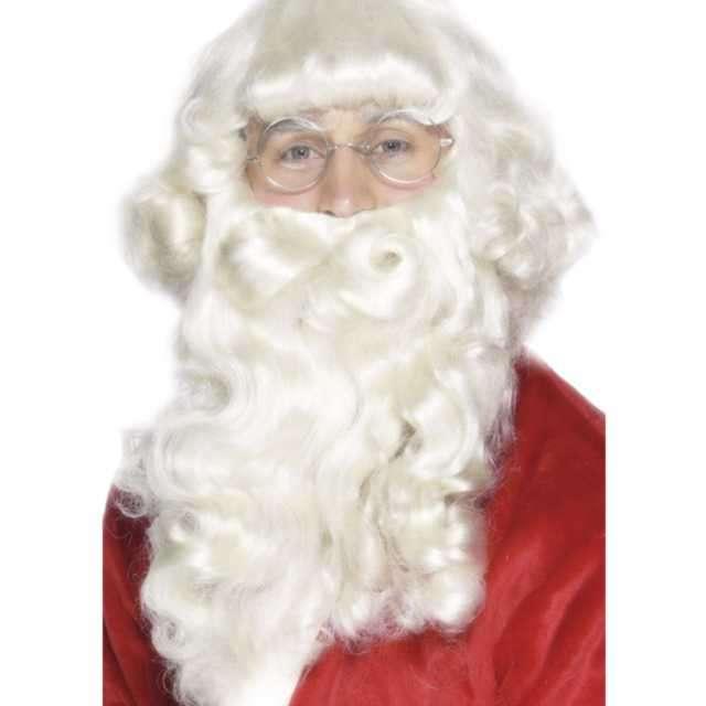 Peruka party Mikołaj z brodą biała Smiffys