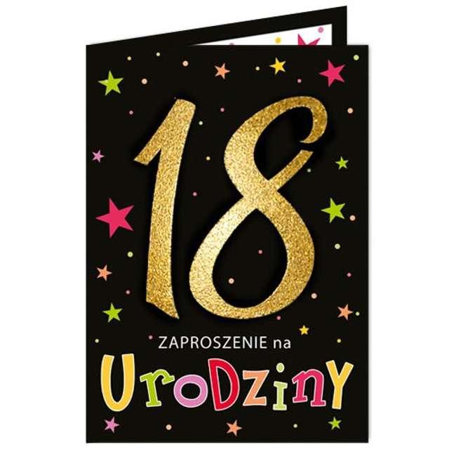 """Zaproszenia urodzinowe """"18 Black & Gold"""", VIPER, 10 szt"""