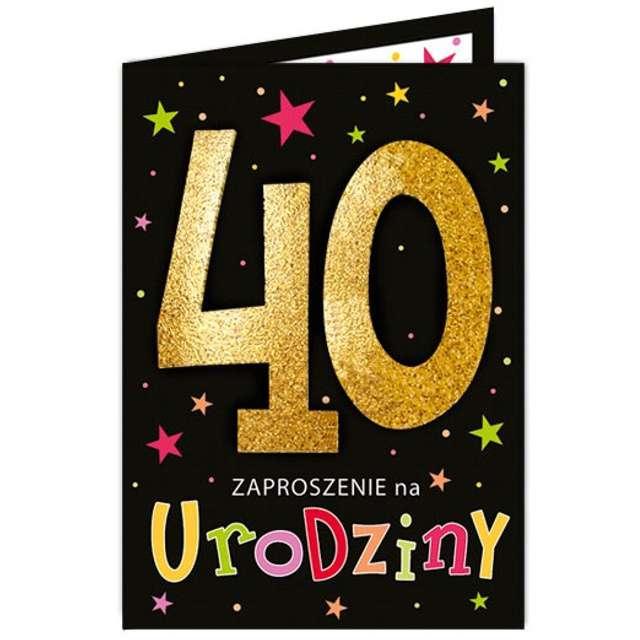 """Zaproszenia urodzinowe """"40 Black & Gold"""", VIPER, 10 szt"""
