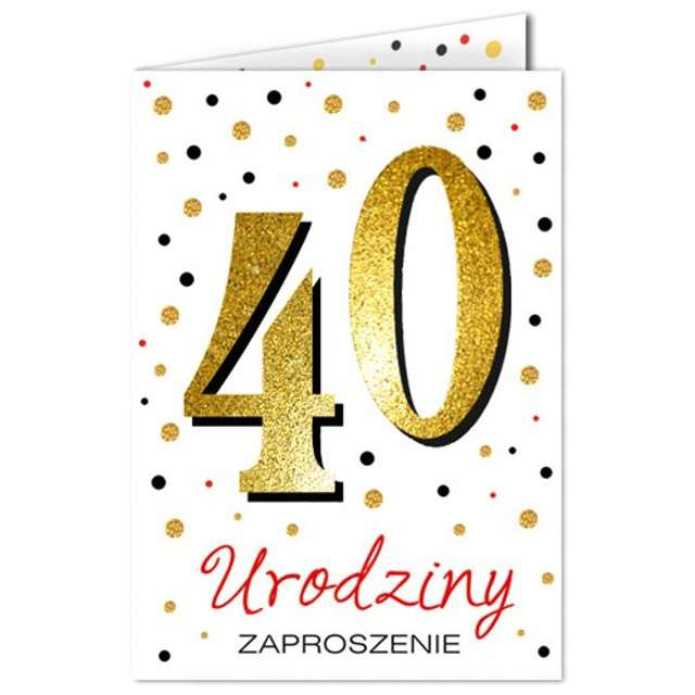 "Zaproszenia urodzinowe ""40 White & Gold"", VIPER, 10 szt"