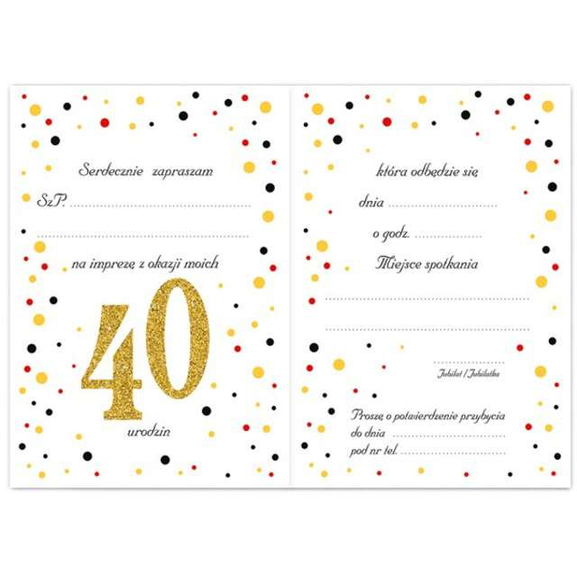 Zaproszenia urodzinowe 40 White & Gold VIPER 10 szt