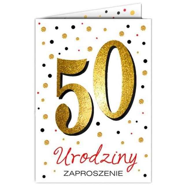 "Zaproszenia urodzinowe ""50 White & Gold"", VIPER, 10 szt"