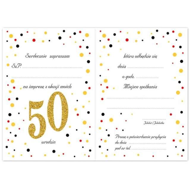 Zaproszenia urodzinowe 50 White & Gold VIPER 10 szt