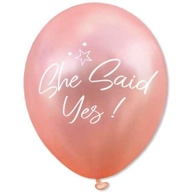 """Balony """"She Said Yes"""", różowe złoto, DekoracjePolska, 12"""", 5 szt"""